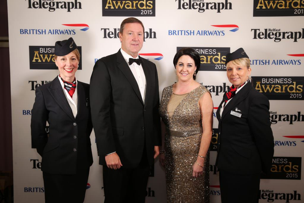 Press Eye - Belfast - Northern Ireland - 30th April 2015 - Belfast Telegraph Business Awards in association with British Airways at the Culloden Hotel. Jayne Deasy, Stephen Humphreys, Brenda Morgan, and Christine Wright pictured at the awards. Picture by Kelvin Boyes / Press Eye