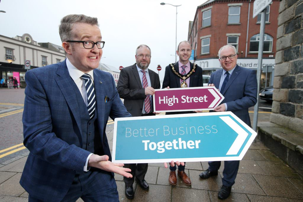 PRESS RELEASE IMAGE - NO FEE Press Eye - Belfast - Northern Ireland - 22nd February 2016 Reinvigoration of the High Street is the focus on the Better Business Together conference taking place in Craigavon next month. Pictured (L-R) keynote speaker and business consultant David Meade with Michael Donaghy, Chair of Banbridge Chamber of Commerce, Lord Mayor of Armagh, Banbridge and Craigavon Councillor Darryn Causby and Adrian Farrell, President of Portadown Chamber of Commerce. The conference has been organised by Armagh City, Banbridge and Craigavon Borough Council in partnership with local businesses and is sponsored by Portadown Chamber of Commerce, Banbridge Chamber of Commerce and The Mall Shopping Centre, Armagh. Picture by Kelvin Boyes / Press Eye.