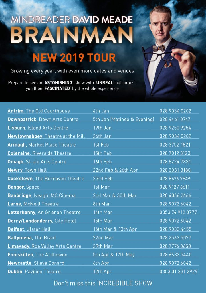 Brainman 2019 Tour locations