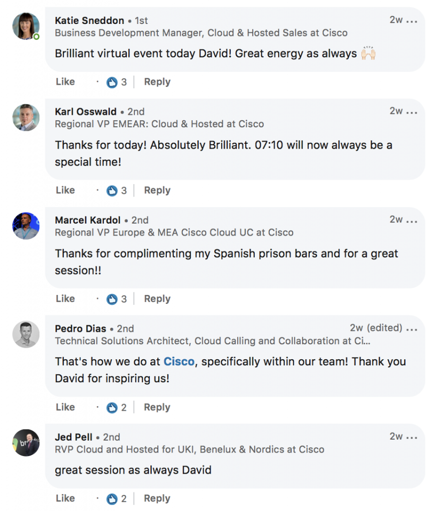 LinkedIn Cisco comments on David